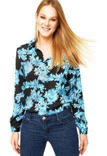 Camisa Manga Longa Forum Floral Preta/Azul
