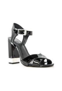 Sandalia Salto Bloco Bicolor E Tiras Em X Preto