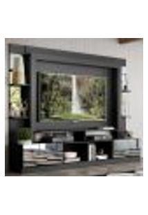 """Rack Estante Com Painel Tv 65"""" E Espelho Oslo Multimóveis Preto"""