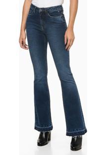 Calça Jeans Five Pockets Flare - Azul Médio - 36