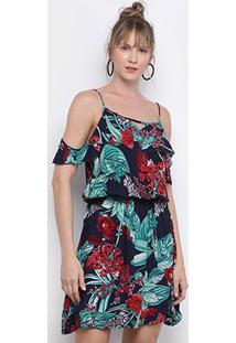 Vestido Pérola Curto Open Shoulder Babado Floral - Feminino-Marinho+Verde