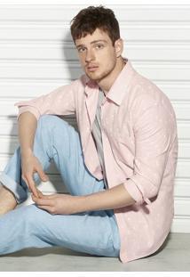 Camisa Slim Masculina Em Linho Com Algodão Estampada