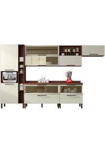 Cozinha Modulada 8 Peças Viv Concept C06 Off White/Nogueira - Kit´S Pa