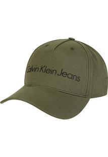 Boné Calvin Klein Aba Curva Logo - Masculino-Verde Militar