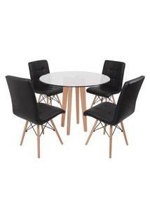 Conjunto Mesa De Jantar Em Vidro 90Cm Com Base Vértice + 4 Cadeiras Gomos - Preto