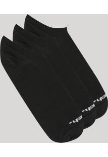 Kit De 3 Meias Masculinas Mash Invisíveis Preta