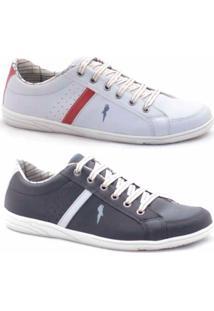 Slip-On Casual Polo Blu Masculino - Masculino-Branco+Preto