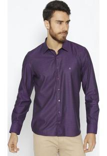 Camisa Extra Slim Com Bordado & Recortes- Roxa & Pretavip Reserva