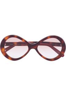 Chloé Eyewear Óculos De Sol Redondo Bonnie Havana - Marrom