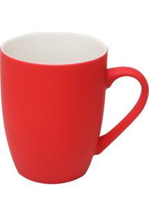 Caneca De Porcelana Soft Touch Vermelha 350Ml Lyor