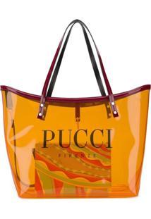 Emilio Pucci Bolsa Tote Com Estampa De Logo - Laranja
