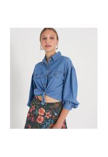 Camisa Jeans Manga Longa Bufante Lisa | Blue Steel | Azul | P