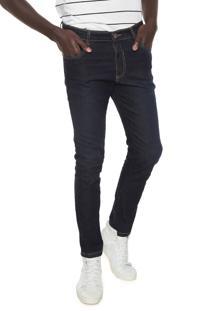 Calça Jeans Local Skinny Pespontos Azul-Marinho