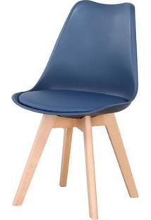 Cadeira Leda Eames Polipropileno Azul Marinho Base Madeira 83Cm - 62955 - Sun House