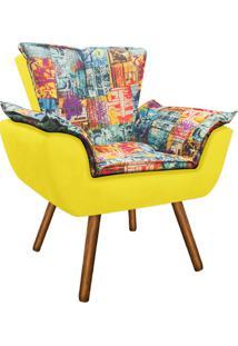 Poltrona Decorativa Opala Suede Composê Estampado Street D05 E Amarelo - D'Rossi