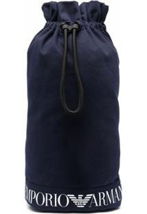 Emporio Armani Logo-Print Drawstring Backpack - Azul
