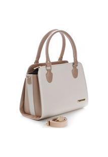 Bolsa Feminina Metalassê Bicolor Santorini Handbag Nude/Creme