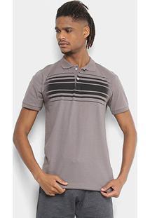 Camisa Polo Tigs Malha Listras Estonadas Masculina - Masculino-Chumbo