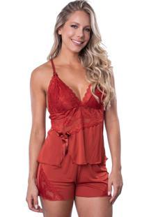 Short Doll Click Chique Alça Busto Rendado Vermelho - Kanui