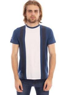 Camiseta Aleatory Listrada Farry Masculina - Masculino-Branco+Azul