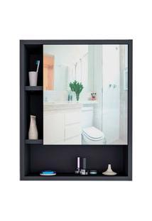 Armário Para Banheiro C/ Espelho Slim Preto E Castanho Appunto