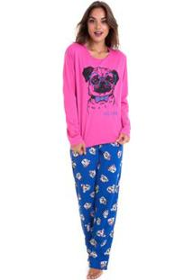 Pijama De Inverno Feminino Moletinho Luna Cuore - Feminino-Pink