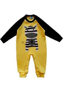 Macacã£O Bebe Manabana Top Recem Nascido Enxoval Batizado Amarelo - Amarelo/Azul - Algodã£O - Dafiti