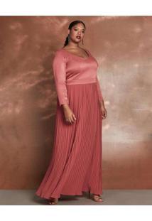 Vestido Almaria Plus Size Pianeta Longo Saia Pliss