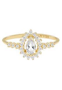 Anel Ouro Amarelo Topázio E Diamantes