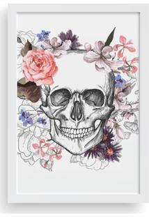 Quadro Love Decor Decorativo Com Moldura Caveira Floral - Branco - Dafiti