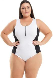 Body Miss Masy Plus Size Viscolycra Com Detalhe Em Zíper - Feminino-Branco