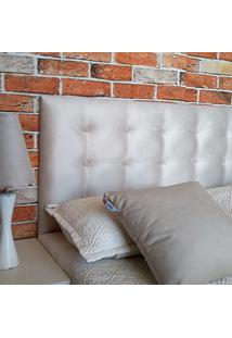 Cabeceira Painel Botonê 15 Casal Suede Liso Bege 140 X 60