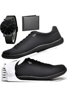 Kit Sapatênis Sapato Casual Com Organizador, Carteira E Relógio Slim Dubuy 920Db Preto - Kanui