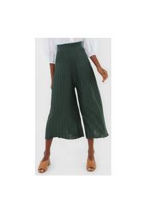 Calça Tricot Dress To Pantacourt Plissada Verde