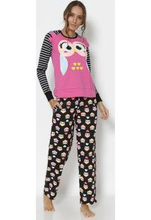 Pijama Corujas Em Moletom- Rosa & Preto- Puketpuket