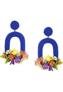 Ken Samudio Par De Brincos Oversized Floral - Azul