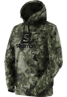 Blusa Masculina Salomon Logo Hoodie Graphic Mosstone Verde Tam. M