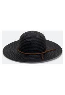 Chapéu Básico Em Palha Com Cordão Fake Suede | Bossa Nossa | Preto | U