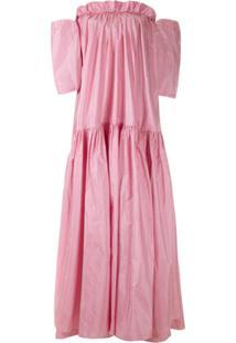 Dolce & Gabbana Vestido Longo De Seda - Rosa