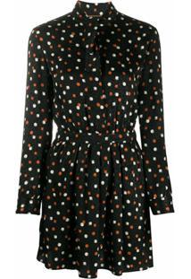 Saint Laurent Vestido De Seda Com Estampa Geométrica - Preto