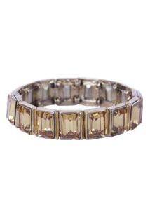 Pulseira Armazem Rr Bijoux Cristal Quadrado Dourado