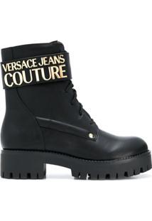 Versace Jeans Couture Logo Plaque Ankle Boots - Preto