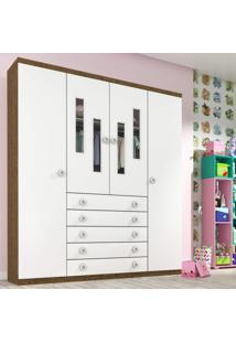 Guarda Roupa Infantil 4 Portas 5 Gavetas Evolution Tcil Móveis Imbuia Rustic/Neve