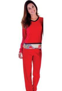 Pijama Feminino Victory Plush Inverno Frio Longo Adulto - Feminino-Vermelho