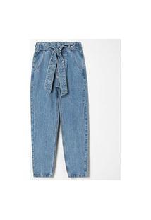 Calça Mom Jeans Com Cinto E Strass   Blue Steel   Azul   34