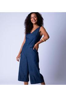 Macacão Pantacourt Jeans Alça Larga Feminina - Feminino-Azul