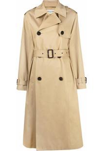 Saint Laurent Trench Coat Com Abotoamento Frontal - Neutro