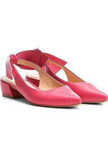 Scarpin Couro Carrano Salto Baixo Bico Fino Chanel Laço - Feminino-Pink
