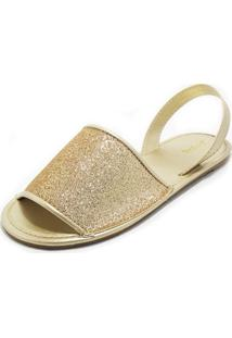 Sandalia Teodora'S Avarca Sintetico Glitter Dourado