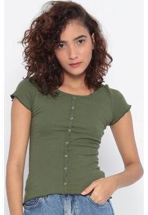 Blusa Canelada Com Botões- Verde Militar- Malweemalwee